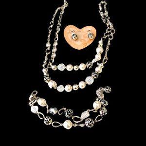 Brighton silver & faux pearl set.  3 pieces NWOT
